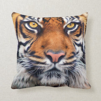 Male Siberian Tiger Paint Photograph Pillow