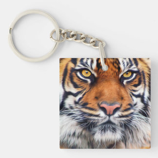 Male Siberian Tiger Paint Photograph Single-Sided Square Acrylic Keychain