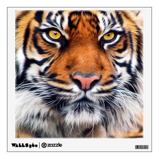 Male Siberian Tiger Paint Photograph Wall Decal