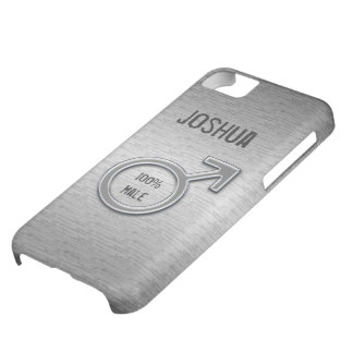 Male Sign/100% Male/Faux Metal+Name iPhone 5C Cover