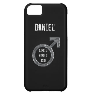 Male Sign/Faux Metal+Name Case For iPhone 5C