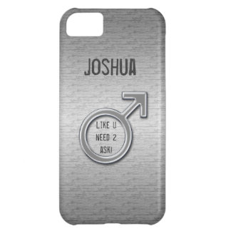 Male Sign/Faux Metal+Name Cover For iPhone 5C