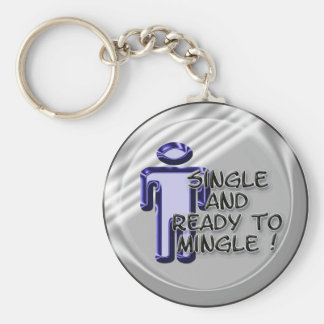 Male Single and Ready to Mingle Basic Round Button Keychain