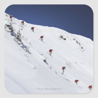 Male Skier Square Stickers