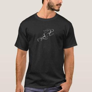 Male Sprinter White on Dark T-Shirt
