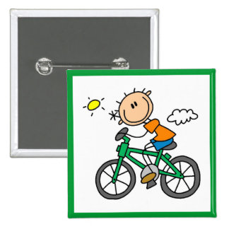 Male Stick Figure Bicyclist Tshirts and gifts Pinback Button