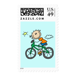 Male Stick Figure Bicyclist Tshirts and gifts Postage Stamp