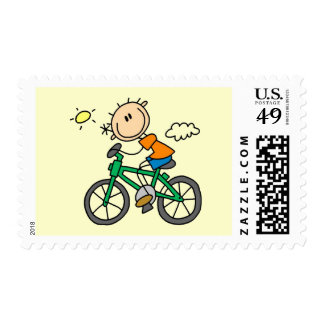 Male Stick Figure Bicyclist Tshirts and gifts Postage Stamps