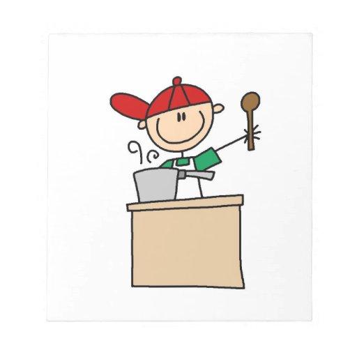 Male Stick Figure Cook Memo Pad
