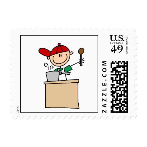 Male Stick Figure Cook Postage Stamps