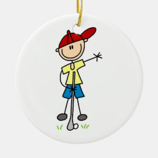 Male Stick Figure Golfer Double-Sided Ceramic Round Christmas Ornament