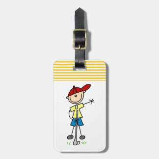 Male Stick Figure Golfer Bag Tags