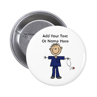 Male Stick Figure Nurse Aid T-shirts and Gifts 2 Inch Round Button