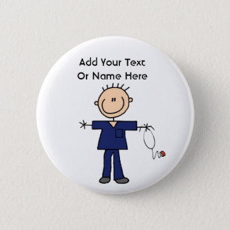 Male Stick Figure Nurse Aid T-shirts and Gifts Pinback Button
