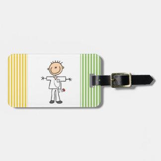Male Stick Figure Nurse Bag Tag