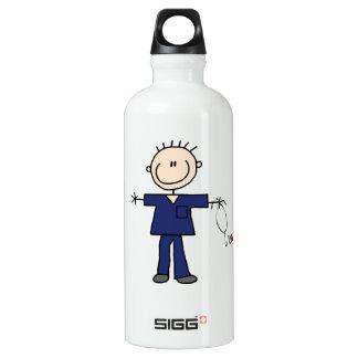 Male Stick Figure Nurse - Blue Aluminum Water Bottle
