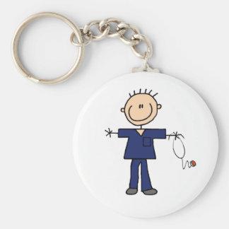 Male Stick Figure Nurse - Blue Basic Round Button Keychain