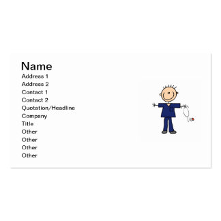 Male Stick Figure Nurse - Blue Double-Sided Standard Business Cards (Pack Of 100)