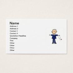 Male Stick Figure Nurse - Blue Business Card at Zazzle