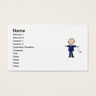 Male Stick Figure Nurse - Blue Business Card