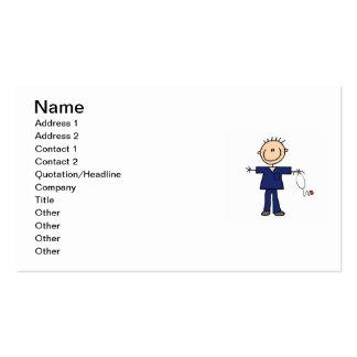 Male Stick Figure Nurse - Blue Business Card