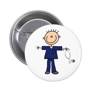 Male Stick Figure Nurse - Blue 2 Inch Round Button