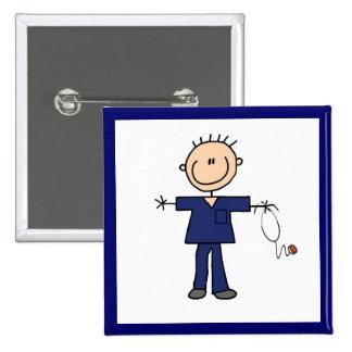 Male Stick Figure Nurse - Blue Button
