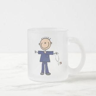 Male Stick Figure Nurse - Blue Frosted Glass Coffee Mug
