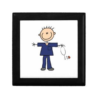 Male Stick Figure Nurse - Blue Jewelry Box