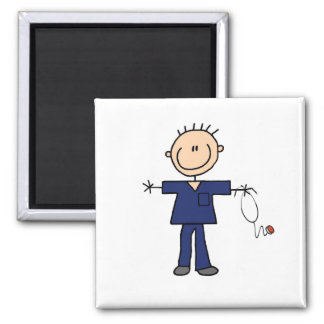 Male Stick Figure Nurse - Blue Magnet