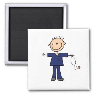 Male Stick Figure Nurse - Blue Magnets