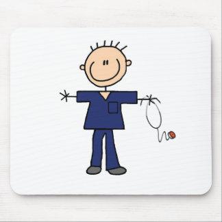 Male Stick Figure Nurse - Blue Mouse Pad