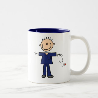 Male Stick Figure Nurse - Blue Two-Tone Coffee Mug