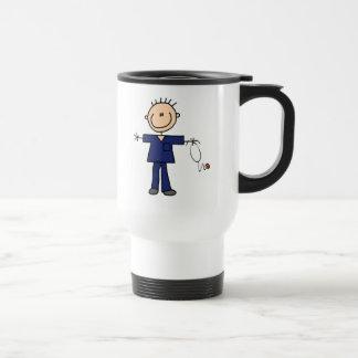 Male Stick Figure Nurse - Blue 15 Oz Stainless Steel Travel Mug