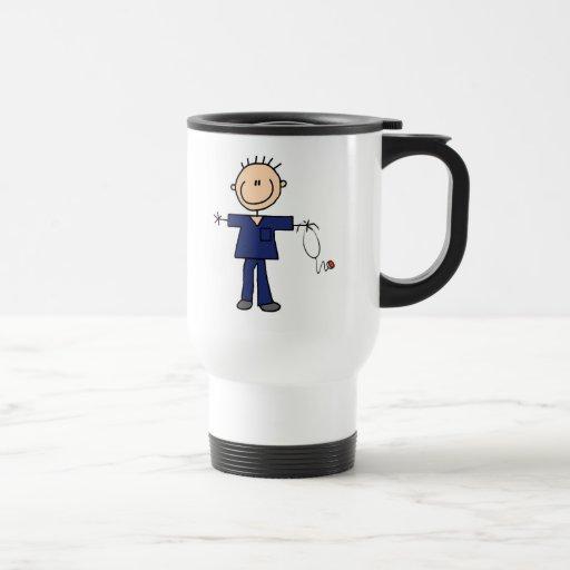 Male Stick Figure Nurse - Blue Mug