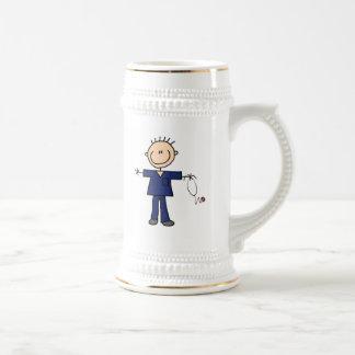 Male Stick Figure Nurse - Blue 18 Oz Beer Stein