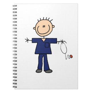 Male Stick Figure Nurse - Blue Notebook