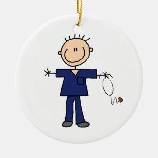 Male Stick Figure Nurse - Blue Ornaments