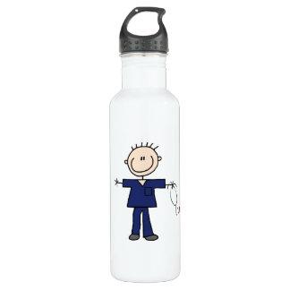 Male Stick Figure Nurse - Blue 24oz Water Bottle