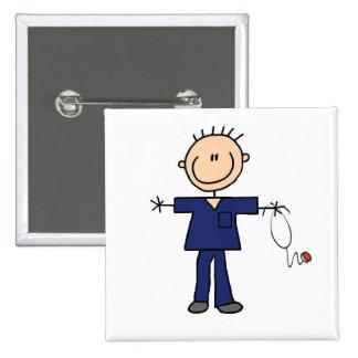 Male Stick Figure Nurse - Blue Pinback Button