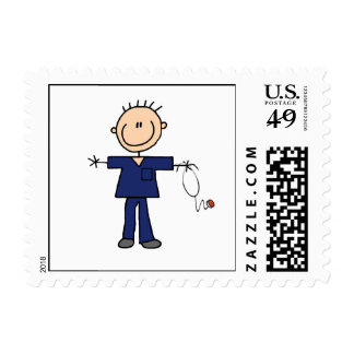 Male Stick Figure Nurse - Blue Postage