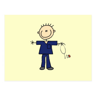 Male Stick Figure Nurse - Blue Postcard