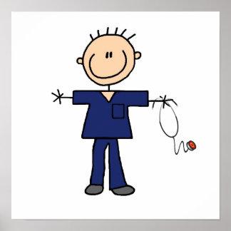 Male Stick Figure Nurse - Blue Poster