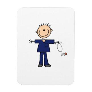 Male Stick Figure Nurse - Blue Rectangular Photo Magnet