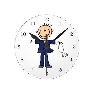 Male Stick Figure Nurse - Blue Round Clock
