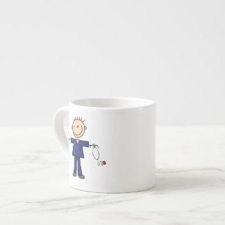Male Stick Figure Nurse - Blue Espresso Cup