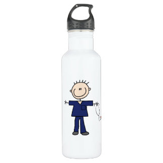 Male Stick Figure Nurse - Blue Water Bottle