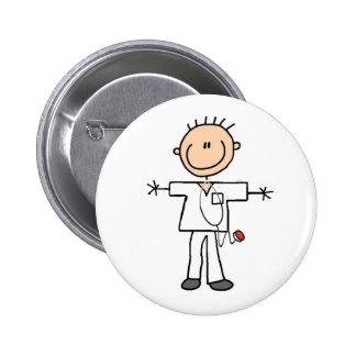 Male Stick Figure Nurse Button
