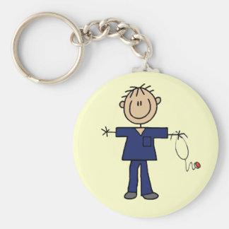 Male Stick Figure Nurse Medium Skin Basic Round Button Keychain