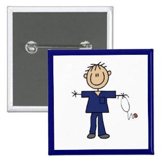 Male Stick Figure Nurse Medium Skin 2 Inch Square Button